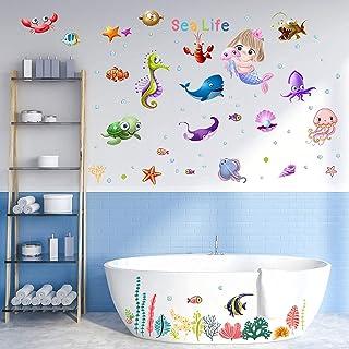 Under The Sea 墙壁贴花美人鱼墙贴水母墙贴鱼海洋墙贴可移除即剥即贴,适用于儿童、卧室、客厅、浴室、浴缸和儿童游乐室