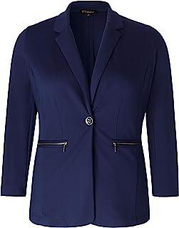 Chicwe 女式加大码弹力纯色工装外套夹克,带金属拉链