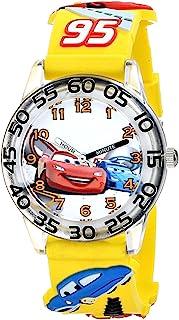 "Disney W001506""Time Teacher""迪士尼儿童汽车手表 带黄色 3-D 表带"