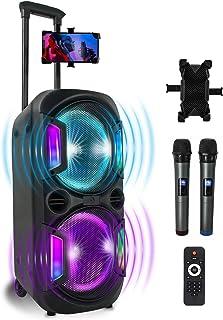 PA 系统便携式蓝牙音箱卡拉OK机,带 2 个无线麦克风,DJ 灯录像,MP3,USB,TF,FM 适用于电视户外派对