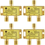 GE 数字双向同轴电缆分路器,4 件装,2.5 GHz 5-2500 MHz,RG6 兼容,适用于高清电视、卫星、互联网…