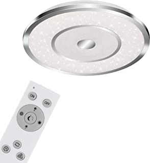 Briloner Leuchten - LED 吸顶灯,浴室灯,浴室灯,包括星星装饰,可调光,遥控器,IP44,色温控制,24 瓦,2600 流明,铬,400 x 72 毫米(DxH),3424-018