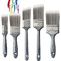 Magimate 画笔套装,斜角腰带污渍刷,平面画笔,适用于墙壁、艺术和家庭装修,各种尺寸(5 件装)
