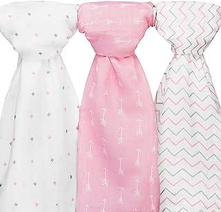 Ziggy Baby 棉布襁褓毯,48x48,箭头,十字图案,粉色/白色,3 件装