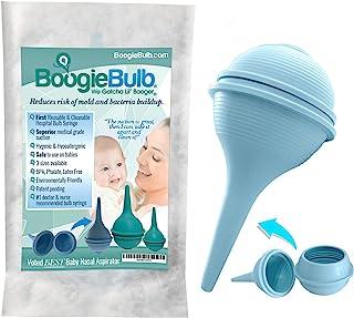 BoogieBulb 婴儿吸鼻器和助推器吸奶器 - First True Cleanable & 可重复使用的婴儿鼻子*器 - **级鼻吸盘非常适合婴儿登记处 - 不含 BPA 的吸奶器 蓝色 2 OZ - Newborn