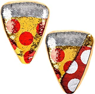 Forest & Twelfth 披萨切片抱枕 ~ 双面亮片 ~ 彩色长毛绒胡椒披萨切片形状靠垫
