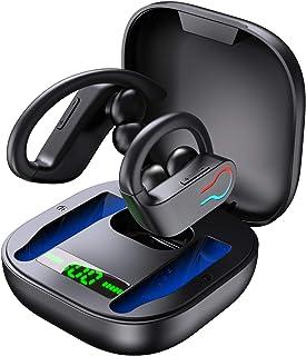 Donerton 无线耳塞,蓝牙 5.1 运动耳机,带充电盒,10 小时单播放时间耳挂耳机,无线耳机 6D 立体声 HiFi 降噪,适用于工作/旅行/健身房