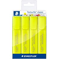STAEDTLER 文本标记笔 Textsurfer 经典,高品质,带大容量墨水存储,超长标记性能,套装带4个黄色记号笔…