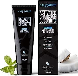 Cali White ACTIVATED CHARCOAL & ORGANIC COCONUT OIL TEETH WHITENING TOOTHPASTE 活性炭有机椰子油美白牙膏 1 pack