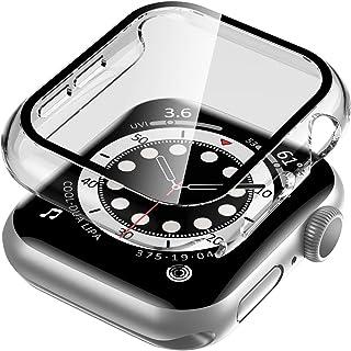 透明手表保護套適用于 Apple Watch 系列 6/SE/5/4 44 毫米鋼化玻璃屏幕保護膜,EWUONU 硬 PC 保護套纖薄整體保護套適用于 iWatch 系列 6/SE/5/4