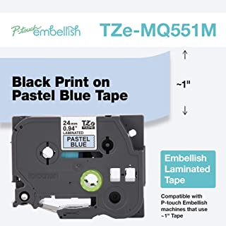 Brother P-Touch Embellish 黑色印花淡蓝色胶带 TZE-MQ551M - ~1 英寸宽 x 13.1 英寸长(24 毫米 x 4 米)