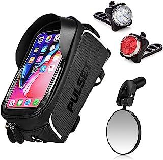Pulset 前框自行车包带灯套装和镜子 - 防水自行车手机壳和配件袋,USB 可充电前后头灯,可调节车把自行车镜