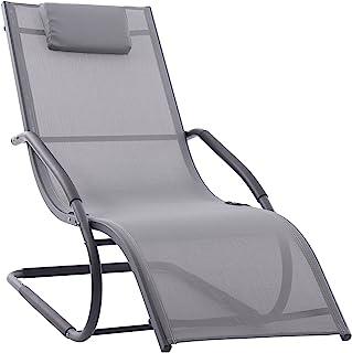 Vivere WAVELNG1-GB 波浪躺椅 - 灰色哑光黑色,168 x 61 x 91 厘米