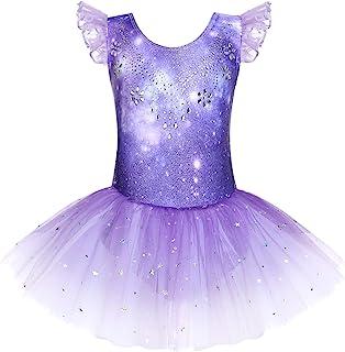 Zaclotre 女童褶皱袖芭蕾舞短裙紧身连衣裤闪亮舞蹈短裙