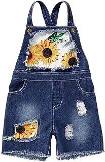 Alysweatry 幼童女婴向日葵印花工装裤迷彩短裤背带裤带口袋休闲服装