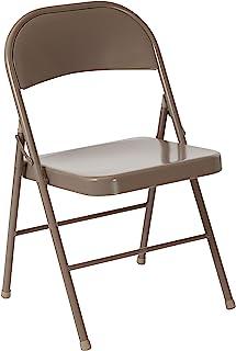 闪光家具,4 件装。 HERCULES 系列双支架米色金属折叠椅