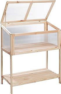 Greemotion 凸起床温室,可回收松木冷框,带双层聚碳酸酯面板和可调节盖,凸起床蔬菜随身收纳架,约 89 x 101 x 49 厘米