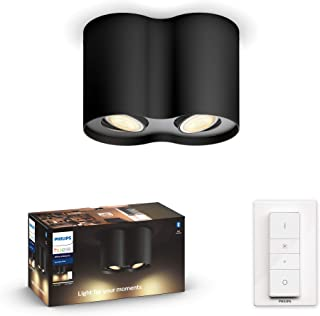 Philips 飞利浦Hue白色琥珀 LED 1 个聚光灯 柱 包括调光开关,白色,可调光,白光,可通过App控制,可与亚马逊Alexa兼容 (Echo, Echo Dot) 黑色 8718696175323