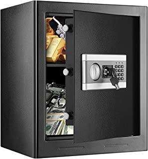 1.53Cub **锁盒,防火防水*柜,数字密码锁*,带键盘 LED 指示灯,适用于家庭办公室酒店商务现金枪文件珠宝(黑色)