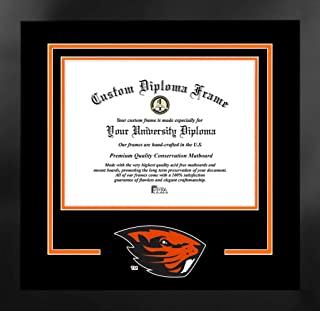 Campus Images NCAA 俄勒冈州海狸男女通用精神文凭曼哈顿黑色框架附赠平版版画,黑色,均码