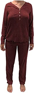Eddie Bauer 女士睡衣 2 件套长袖亨利裤(酒红色,S 码)