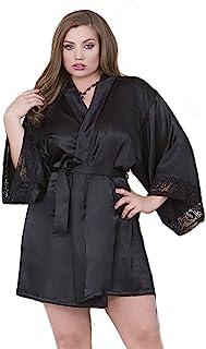 iCollection 内衣加大码黑色蕾丝和缎面长袍,加大码黑色蕾丝长袍