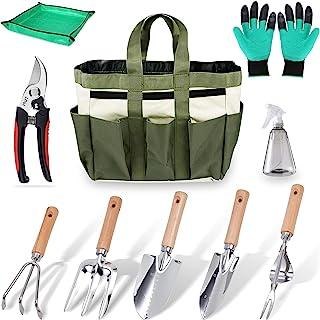 Chaogal 花园工具套装,10 件,不锈钢重型园艺工具,带木柄,园艺礼品工具套装,男女适用,户外手工种植套件,带植物盆栽防水布垫