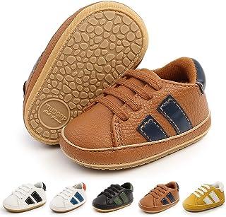 Meckior 男婴女童经典高帮 PU 皮革婚礼乐福鞋布洛克幼儿牛津鞋正装鞋*步步步步行平底懒人婴儿鞋