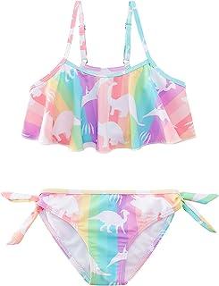 Adolife 女童泳衣褶皱两件套比基尼套装速干沙滩运动泳装游泳衣 6-12 岁