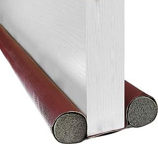 BAINING 双挡板,37 英寸(约 91.4 厘米)双侧门下窗底部密封条噪音阻滞器,可水洗可切割皮革管填充 EPE 适用于室内门和窗户挡板,棕色