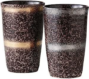陶悦窑啤*杯 陶器 ペアー 金銀輪華 350㏄ サイズ(cm):Φ7.9x12.2