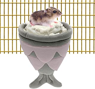 CooShou 仓鼠睡床 小动物 悬挂屋 糖 滑翔机 鲨鱼 隐藏洞穴 豚鼠 舒适 温暖 睡巢 包笼 小鼠 Chinchilla 刺猬 雪貂 (灰色)