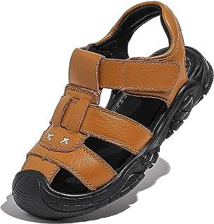 DADAWEN 男孩女孩皮革户外闭趾运动凉鞋儿童涉水鞋夏季沙滩鞋(幼儿/小童/大童)
