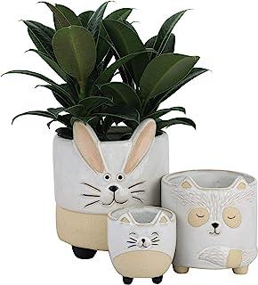陶瓷动物多肉植物花盆 - 5.4 + 4.3 + 3.1 英寸可爱兔子、浣熊和猫形状半釉粗糙陶器室内花盆,适合花仙人掌空气植物,家居装饰礼品