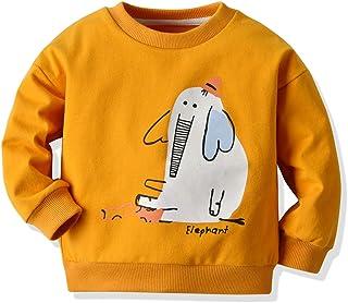 幼童女婴男孩字母印花毛衣长袖套头运动衫上衣秋冬户外服装(橙色大象,4-5 岁)