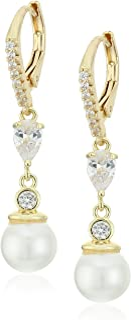"Anne Klein""Precious Pieces""珍珠和方晶锆石线性耳坠"