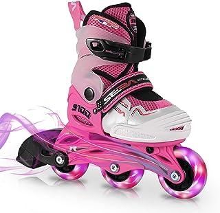 SEBA 儿童直排轮滑冰女童初学者幼儿小尺码 Jr 9-2 美码 4 闪光轮