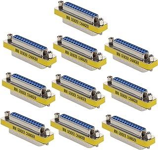 Heyiarbeit 25 针 2 排 D-SUB VGA 性别转换器 DB25 公对母迷你性别转换器耦合器适配器连接器适用于串行应用蓝色 10 件