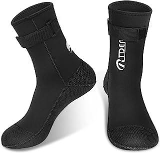 RTDEP 潜水服袜 3 毫米氯丁橡胶袜胶合盲缝沙滩袜防滑鳍潜水袜带可调节腰部保暖游泳袜,用于开水皮划艇