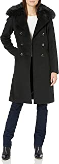 T Tahari 女式双排扣羊毛大衣,带人造毛皮