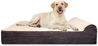 KOPEKS 超大 7 英寸泡沫狗床带 3 英寸枕头 - 包括防水内衬保护垫 - 毛绒棕色