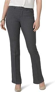 Lee 女士弹性运动常规修身直筒裤 Gray Heather Pinstripe 14 Short