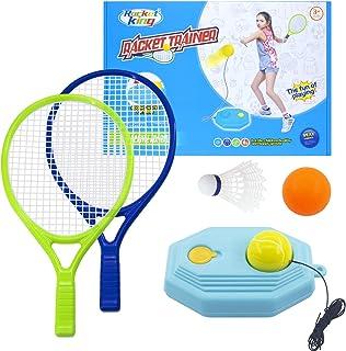 网球训练器材 - 儿童网球训练套装,塑料羽毛球网球拍套装带网球,乒乓球,羽毛球儿童幼儿男孩女孩年龄 3 4 5 6 7 8 9 10 11 12 13 14 岁