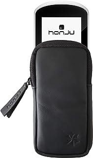 honju Bike 真皮手机套,适用于 Garmin Edge Explore E-Bike/Pedelec (屏幕保护膜,钥匙内袋,防止划痕和污垢) - 黑色