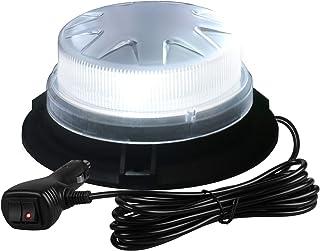 Primelux 车辆应急灯 – 卡车和汽车用白色闪光灯 – 12V-24V 频闪灯条 – 24 个高强度 LED – 8 种闪光模式 – 强力磁性安装 – 点烟器插头