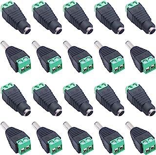 weideer 10 对公+母头 2.1x5.5MM 12V 直流电源插座插头适配器连接器适用于 LED 条形灯闭路电视相机 K-020