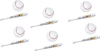 棒球派对喜爱充气24英寸棒球棒和9英寸棒球套装:6只球棒和6球,适用于运动装饰、后院派对、泳池派对、充气玩具 适合所有年龄段的充气玩具