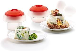 Lekue Ovo 鸡蛋锅套装 1 个方形蛋形模具和 1 个圆形蛋形模具(2 件套),红色
