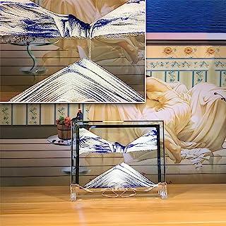 FKJYUF 移动沙画,3D 玻璃流动沙艺术,沙子在运动中适用于家庭创意装饰和办公桌。(蓝色)