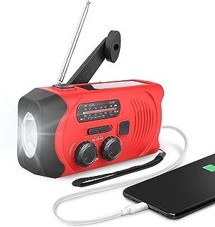 紧急收音机,LP 手动曲柄自供电 WB/AM/FM NOAA 太阳能充电收音机,带 LED 手电筒和 SOS 报警,2000 mAh 移动电源适用于带 USB 电缆的智能手机